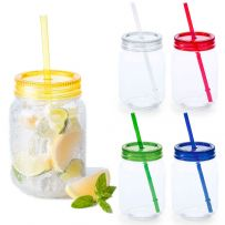 Pack of 4 600ml Plastic Mason Jar & Straw